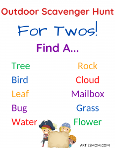 outdoor toddler scavenger hunts for two year olds